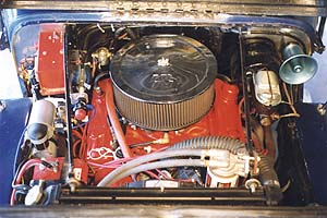 V-8 engine from the front