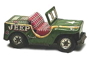 Green tin Jeep