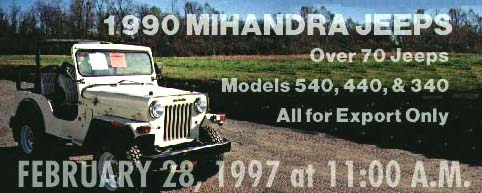 Jeeps for Auction, 28 Feb. 1997